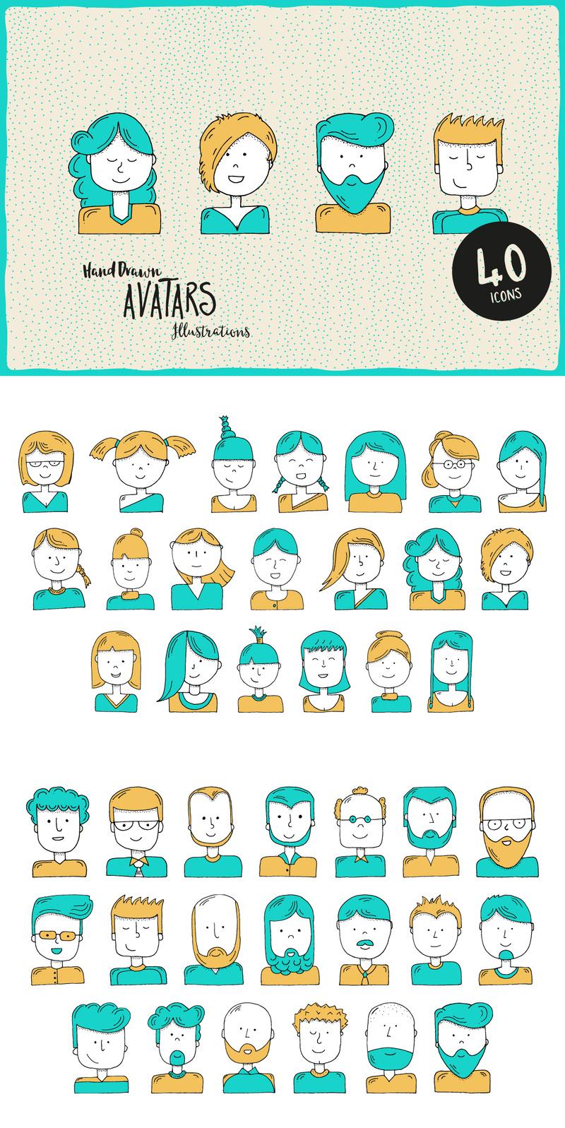 Hand-Illustrated Avatars
